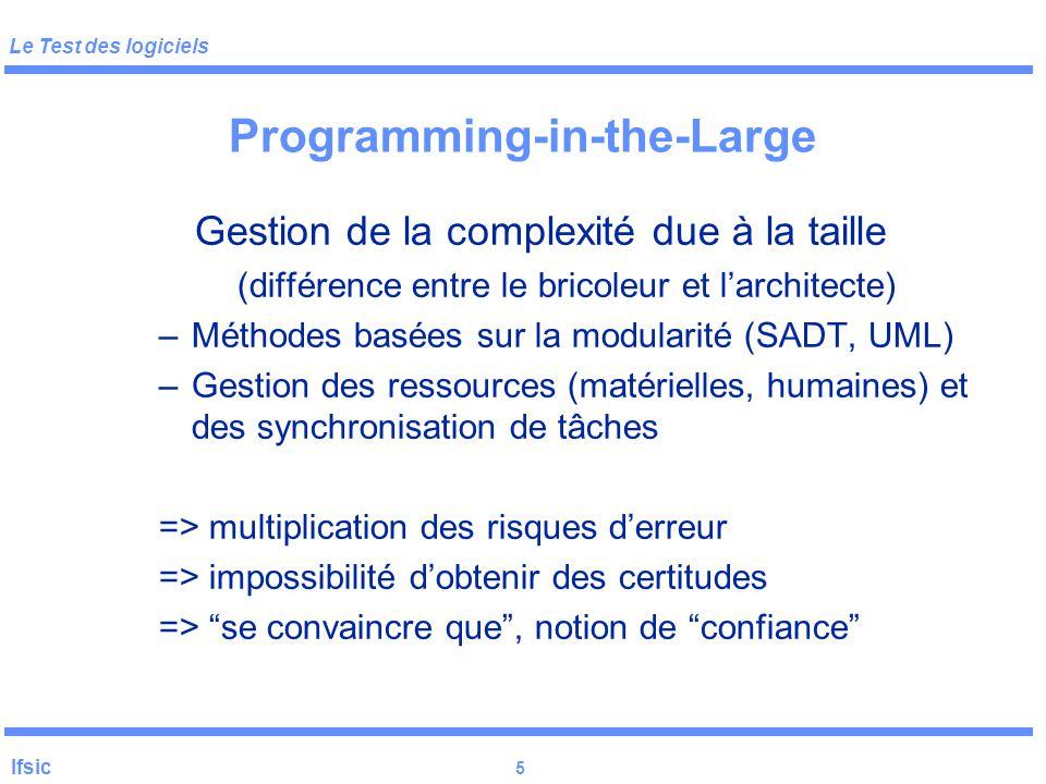 Le Test des logiciels Ifsic 4 Programming-in-the-Large Compilateur …………… 10 KLOC (C) Système de commutation X25…100 KLOC (C) Contrôle de sous-marin nu
