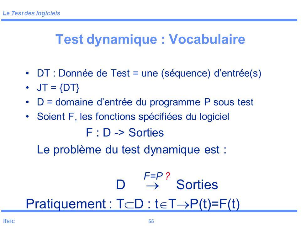 Le Test des logiciels Ifsic 54 Test statique Autre méthodes : revues, métriques (contraintes etc.), analyse d 'anomalies (du graphe de contrôle/de don