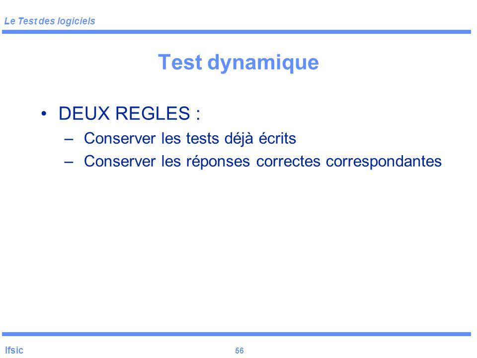 Le Test des logiciels Ifsic 55 Test dynamique : Vocabulaire DT : Donnée de Test = une (séquence) d'entrée(s) JT = {DT} D = domaine d'entrée du program