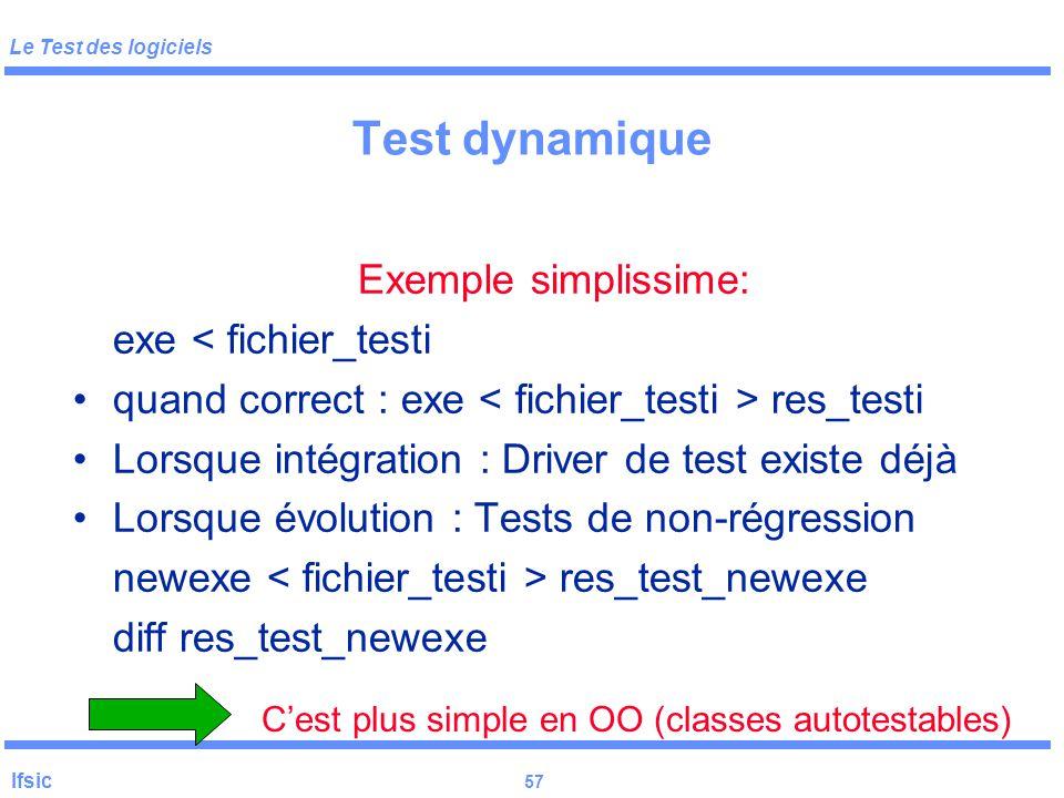 Le Test des logiciels Ifsic 56 Test dynamique DEUX REGLES : – Conserver les tests déjà écrits – Conserver les réponses correctes correspondantes
