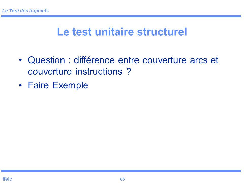 Le Test des logiciels Ifsic 64 Le test unitaire structurel Sélection des tests fondés sur le flot de contrôle Couverture des instructions : chaque blo
