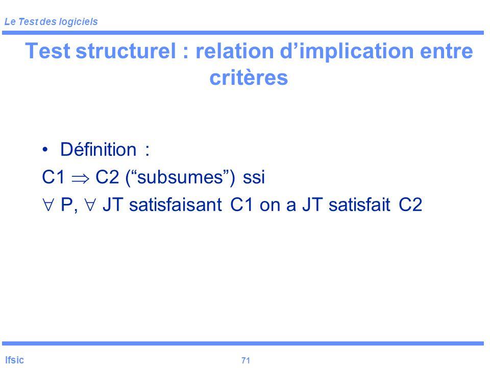 Le Test des logiciels Ifsic 70 Le test en général: critères d 'arrêt unitaire : flot de données Autres critères structurels : lien definition-utilisat
