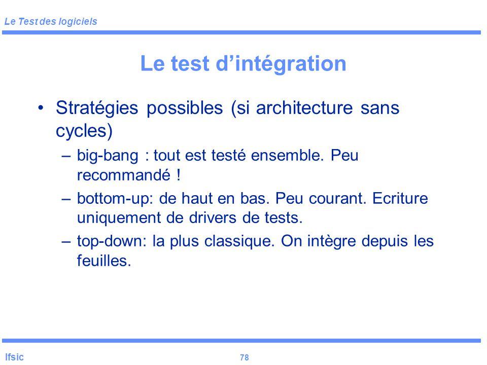 Le Test des logiciels Ifsic 77 Le test d'intégration But : vérifier les interactions entre composants (se base sur l'architecture de la conception) Di