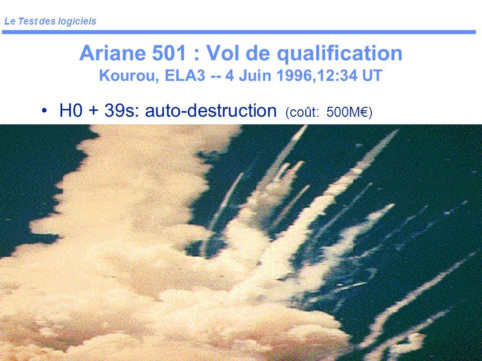 Le Test des logiciels Ifsic 7 Ex: Ariane 501 Vol de qualification Kourou, ELA3 -- 4 Juin 1996,12:34 UT H0 -> H0+37s : nominal Dans SRI 2: –BH (Bias Ho