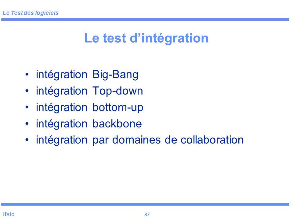 Le Test des logiciels Ifsic 86 Le test d'intégration D T T TTT TTT T D T T TTT TTT TTTT