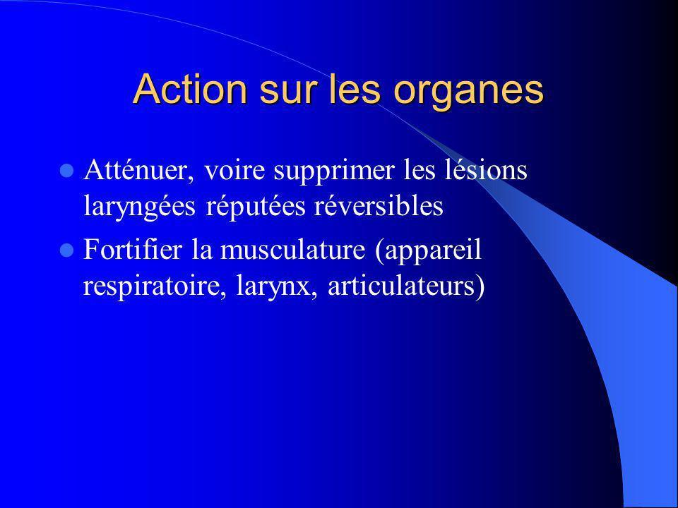 Action sur les organes Atténuer, voire supprimer les lésions laryngées réputées réversibles Fortifier la musculature (appareil respiratoire, larynx, articulateurs)