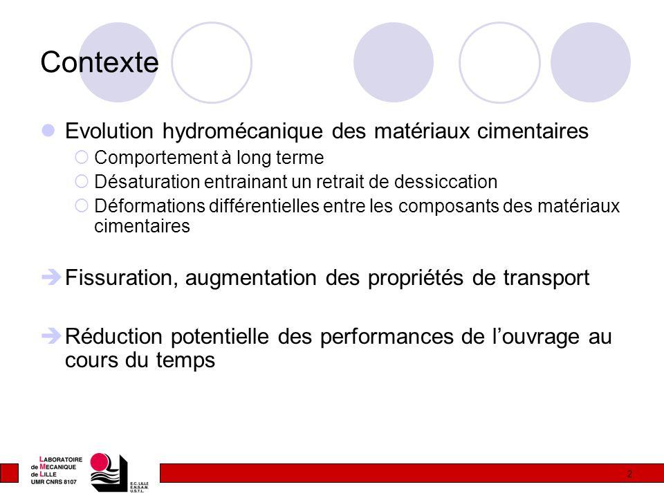2 Contexte Evolution hydromécanique des matériaux cimentaires  Comportement à long terme  Désaturation entrainant un retrait de dessiccation  Défor