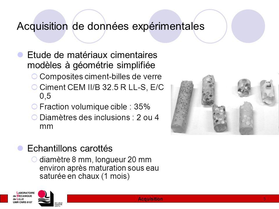 5 Acquisition de données expérimentales Etude de matériaux cimentaires modèles à géométrie simplifiée  Composites ciment-billes de verre  Ciment CEM II/B 32.5 R LL-S, E/C 0,5  Fraction volumique cible : 35%  Diamètres des inclusions : 2 ou 4 mm Echantillons carottés  diamètre 8 mm, longueur 20 mm environ après maturation sous eau saturée en chaux (1 mois) Acquisition