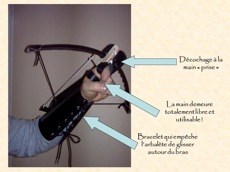 Bracelet qui empêche l'arbalète de glisser autour du bras La main demeure totalement libre et utilisable !