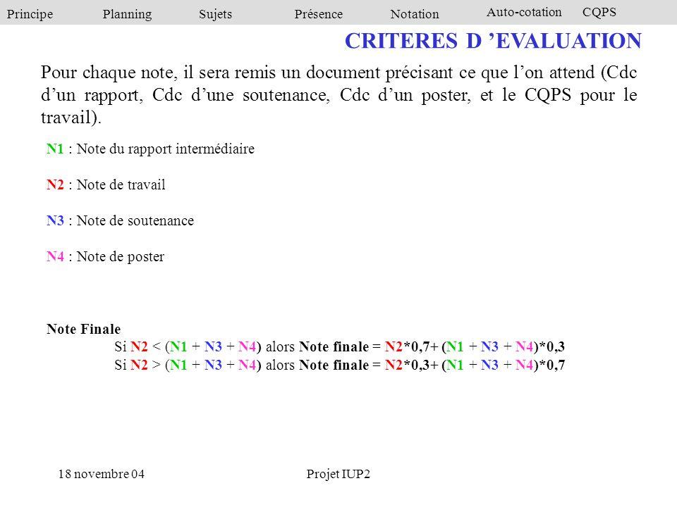 PrincipePlanningSujetsPrésenceNotation Auto-cotationCQPS 18 novembre 04Projet IUP2 CRITERES D 'EVALUATION N1 : Note du rapport intermédiaire N2 : Note de travail N3 : Note de soutenance N4 : Note de poster Note Finale Si N2 < (N1 + N3 + N4) alors Note finale = N2*0,7+ (N1 + N3 + N4)*0,3 Si N2 > (N1 + N3 + N4) alors Note finale = N2*0,3+ (N1 + N3 + N4)*0,7 Pour chaque note, il sera remis un document précisant ce que l'on attend (Cdc d'un rapport, Cdc d'une soutenance, Cdc d'un poster, et le CQPS pour le travail).