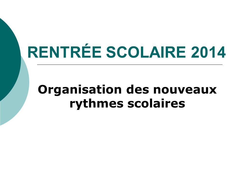 RENTRÉE SCOLAIRE 2014 Organisation des nouveaux rythmes scolaires