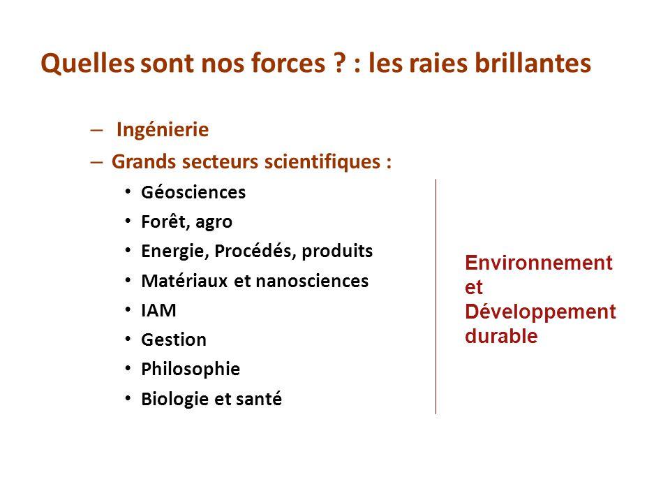 Quelles sont nos forces ? : les raies brillantes – Ingénierie – Grands secteurs scientifiques : Géosciences Forêt, agro Energie, Procédés, produits Ma