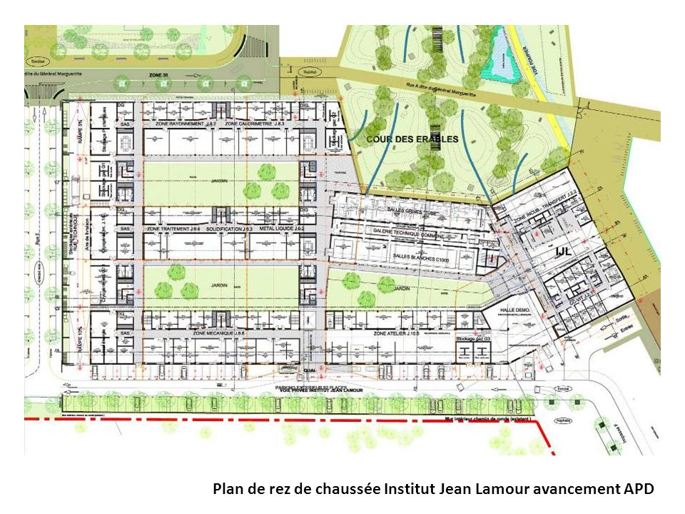 Plan de rez de chaussée Institut Jean Lamour avancement APD