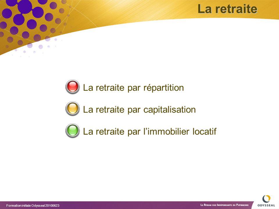 Formation initiale Odysseal 20100623 La retraite par répartition La retraite par capitalisation La retraite par l'immobilier locatif La retraite
