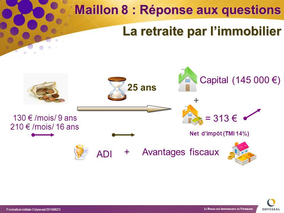 Formation initiale Odysseal 20100623 + Avantages fiscaux ADI + 130 € /mois/ 9 ans 25 ans Capital (145 000 €) = 313 € Maillon 8 : Réponse aux questions