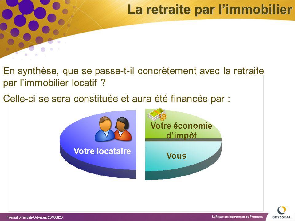 Formation initiale Odysseal 20100623 Vous Votre économie d'impôt Votre locataire En synthèse, que se passe-t-il concrètement avec la retraite par l'im