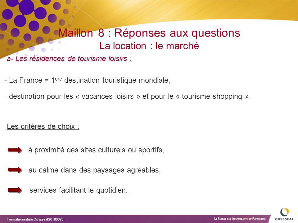 Formation initiale Odysseal 20100623 Maillon 8 : Réponses aux questions La location : le marché a- Les résidences de tourisme loisirs : Les critères d