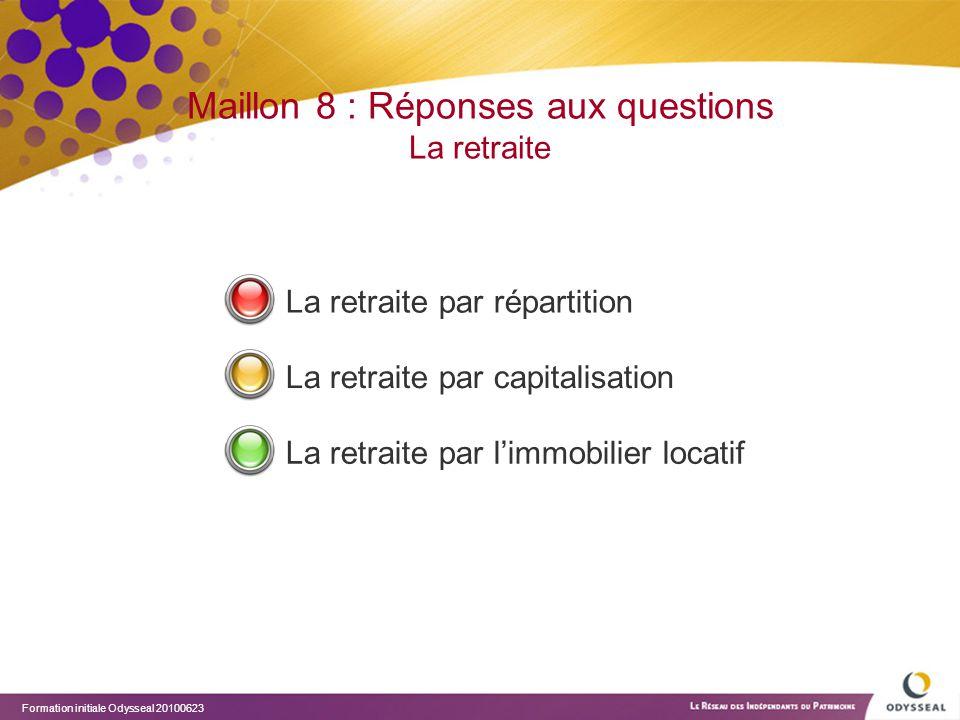 Formation initiale Odysseal 20100623 Maillon 8 : Réponses aux questions La retraite La retraite par répartition La retraite par capitalisation La retr