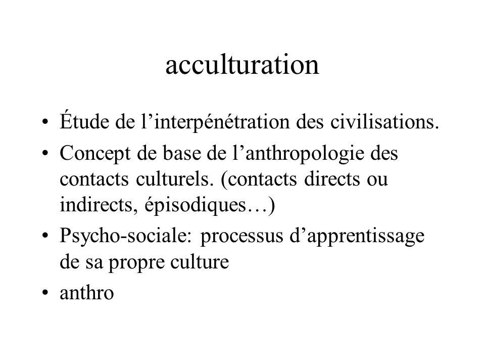acculturation Étude de l'interpénétration des civilisations.