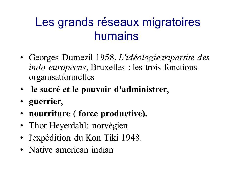 Les grands réseaux migratoires humains Georges Dumezil 1958, L idéologie tripartite des indo-européens, Bruxelles : les trois fonctions organisationnelles le sacré et le pouvoir d administrer, guerrier, nourriture ( force productive).