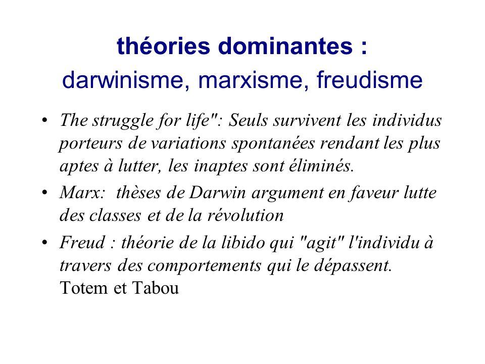 théories dominantes : darwinisme, marxisme, freudisme The struggle for life : Seuls survivent les individus porteurs de variations spontanées rendant les plus aptes à lutter, les inaptes sont éliminés.