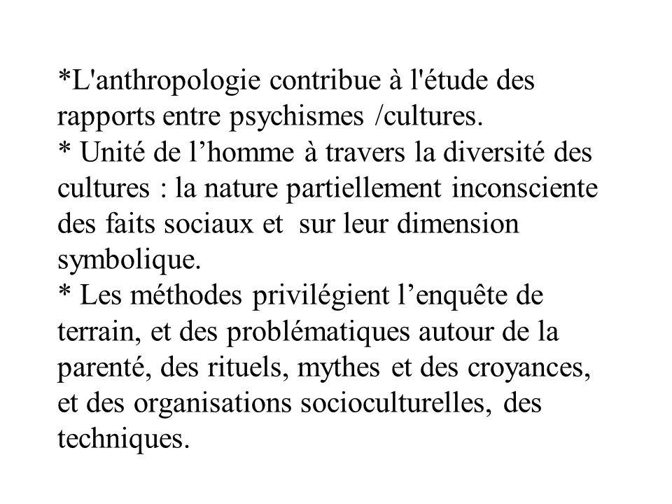 *L anthropologie contribue à l étude des rapports entre psychismes /cultures.
