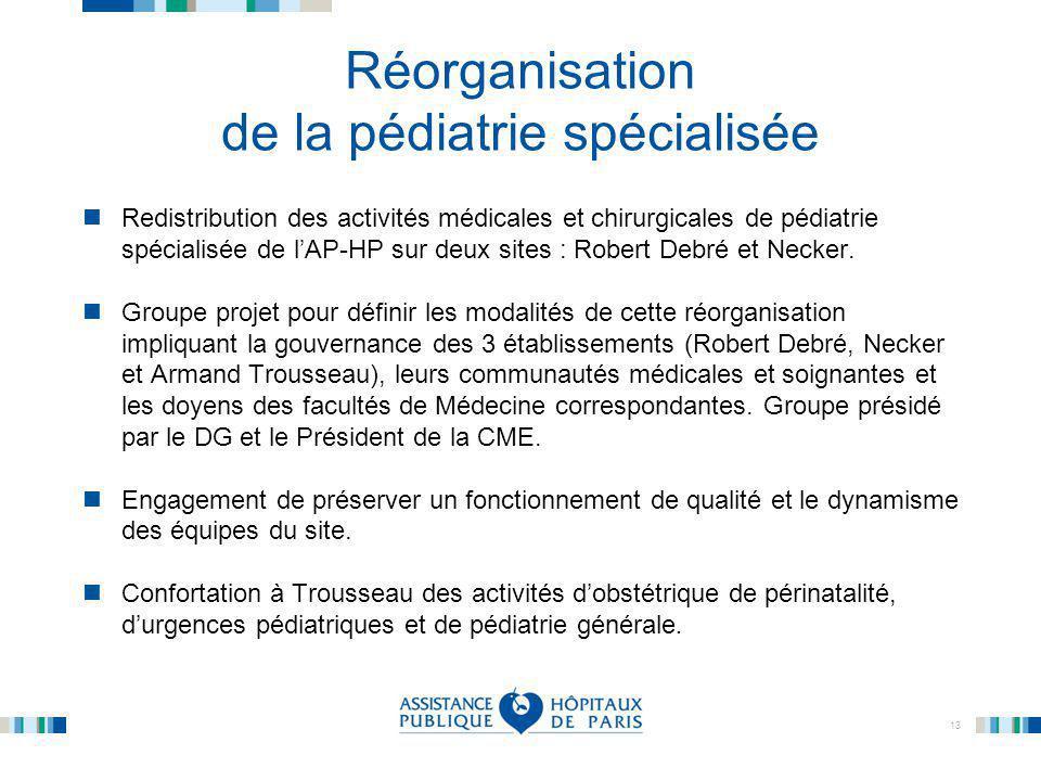 13 Réorganisation de la pédiatrie spécialisée Redistribution des activités médicales et chirurgicales de pédiatrie spécialisée de l'AP-HP sur deux sit