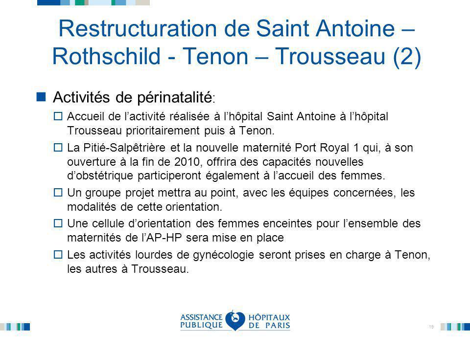 19 Restructuration de Saint Antoine – Rothschild - Tenon – Trousseau (2) Activités de périnatalité :  Accueil de l'activité réalisée à l'hôpital Sain