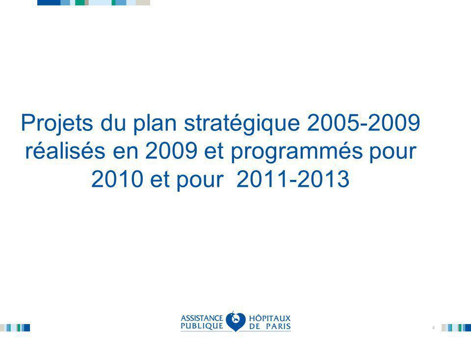 4 Projets du plan stratégique 2005-2009 réalisés en 2009 et programmés pour 2010 et pour 2011-2013