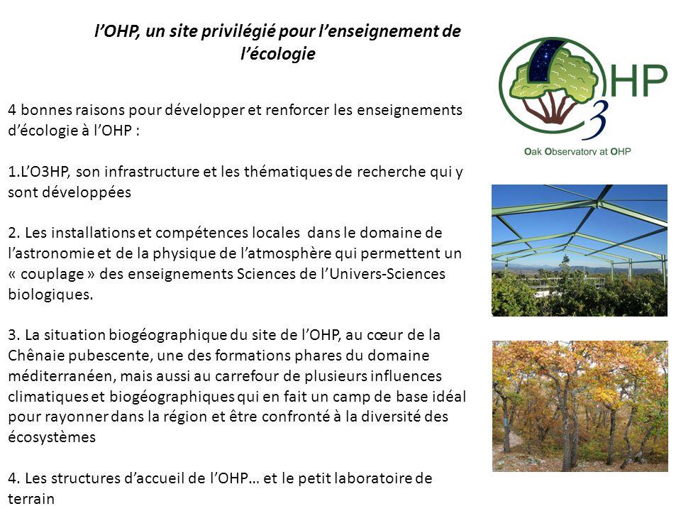 l'OHP, un site privilégié pour l'enseignement de l'écologie 4 bonnes raisons pour développer et renforcer les enseignements d'écologie à l'OHP : 1.L'O3HP, son infrastructure et les thématiques de recherche qui y sont développées 2.