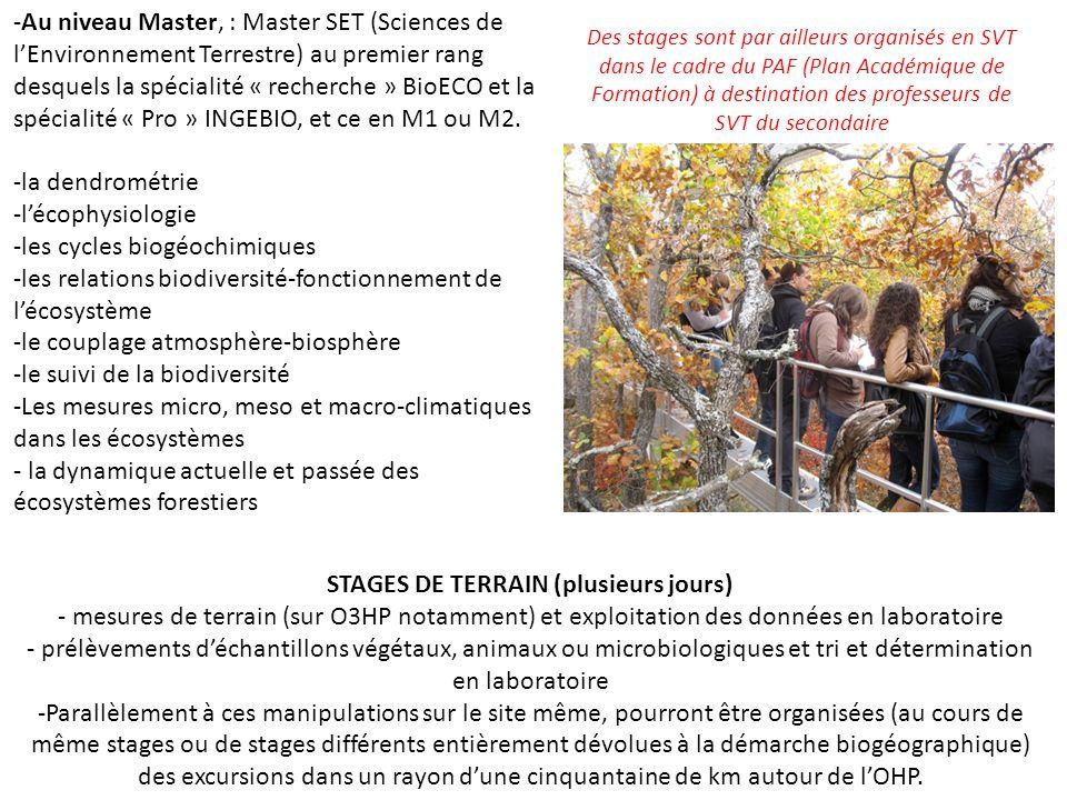 -Au niveau Master, : Master SET (Sciences de l'Environnement Terrestre) au premier rang desquels la spécialité « recherche » BioECO et la spécialité « Pro » INGEBIO, et ce en M1 ou M2.