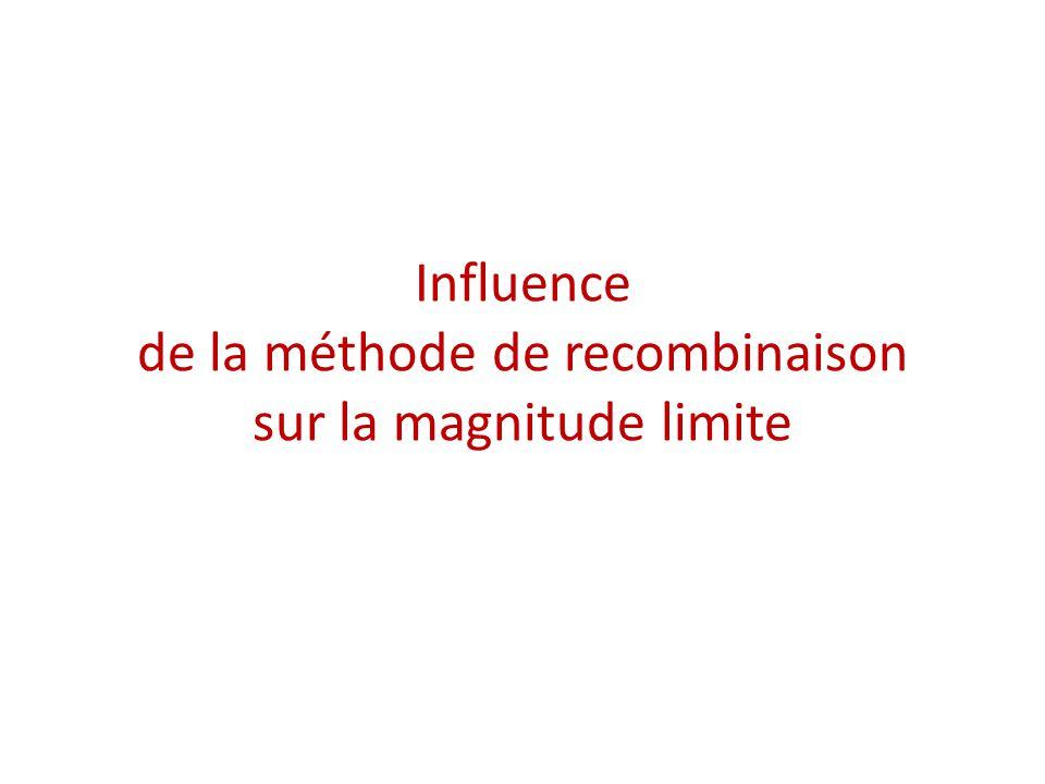 Influence de la méthode de recombinaison sur la magnitude limite