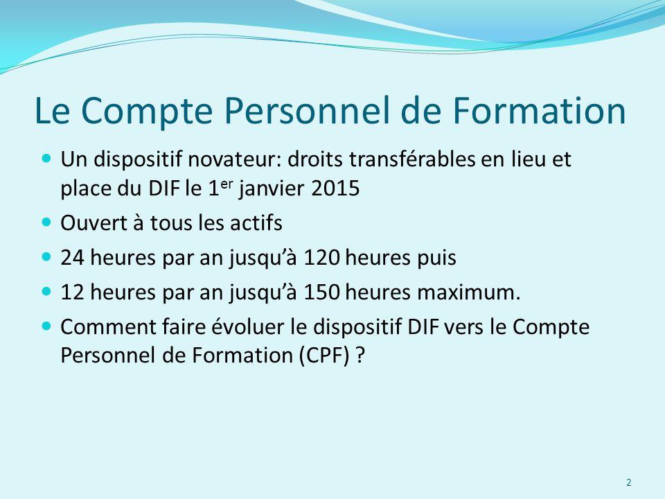 Le Compte Personnel de Formation Un dispositif novateur: droits transférables en lieu et place du DIF le 1 er janvier 2015 Ouvert à tous les actifs 24