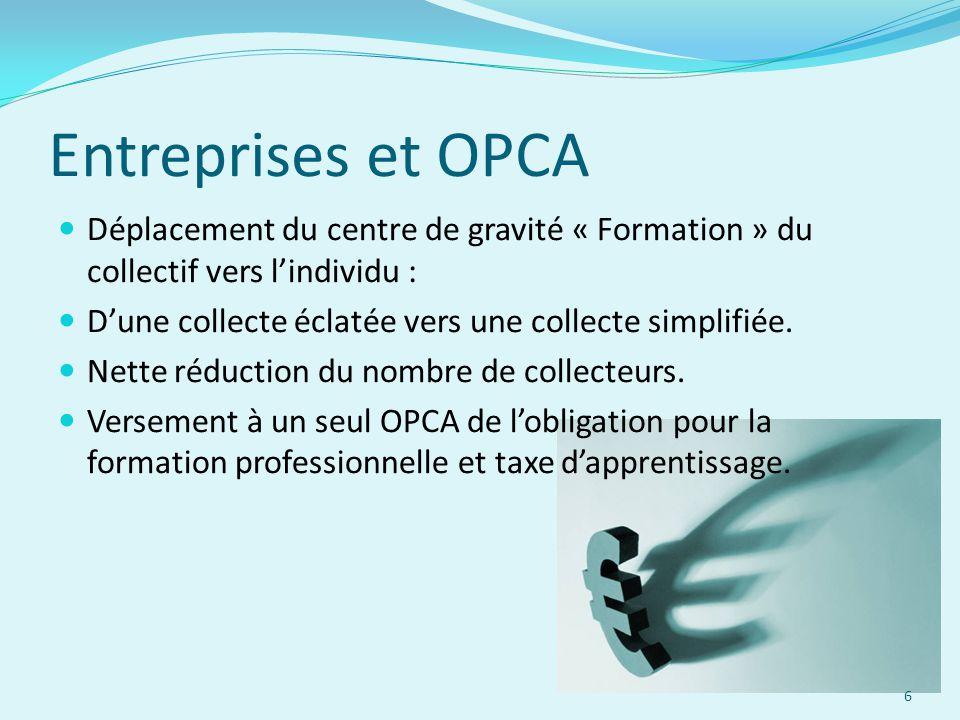 Entreprises et OPCA Déplacement du centre de gravité « Formation » du collectif vers l'individu : D'une collecte éclatée vers une collecte simplifiée.