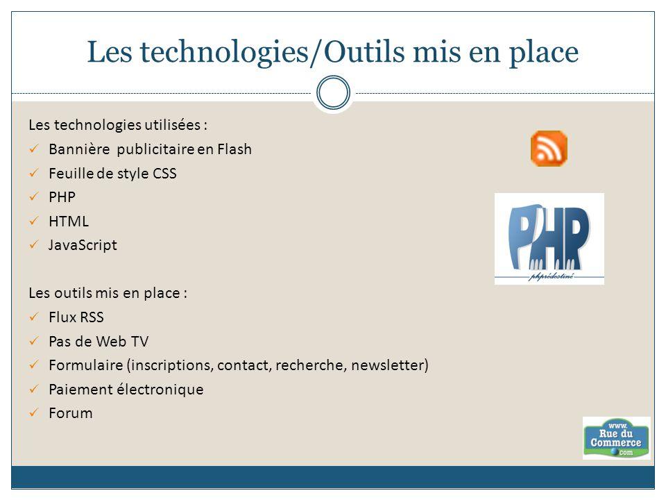 Les technologies/Outils mis en place Les technologies utilisées : Bannière publicitaire en Flash Feuille de style CSS PHP HTML JavaScript Les outils m
