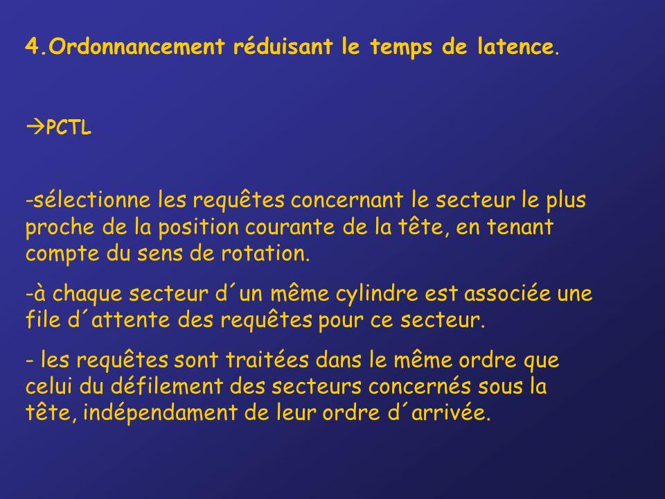4.Ordonnancement réduisant le temps de latence.  PCTL -sélectionne les requêtes concernant le secteur le plus proche de la position courante de la tê