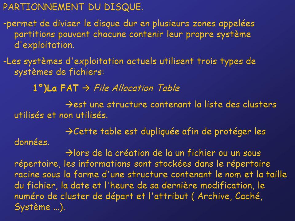 PARTIONNEMENT DU DISQUE. -permet de diviser le disque dur en plusieurs zones appelées partitions pouvant chacune contenir leur propre système d'exploi