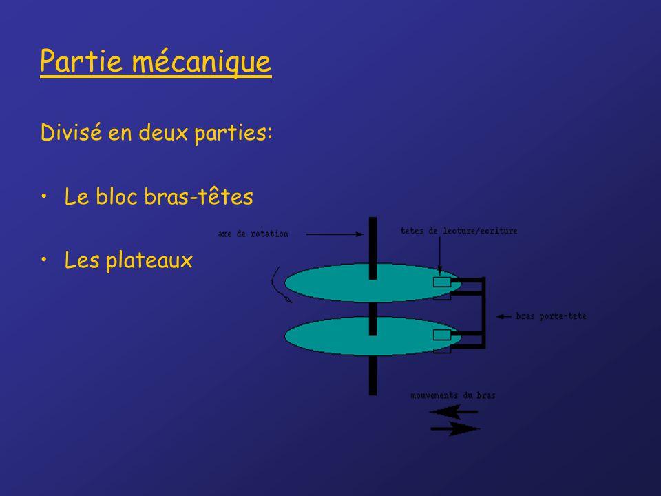 Partie mécanique Divisé en deux parties: Le bloc bras-têtes Les plateaux