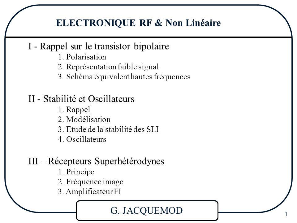 ELECTRONIQUE RF & NL 62 RECEPTEURS SUPERHETERODYNES * Standards internationaux : FI en AM : 455 kHz FI en FM : 10,7 MHz * Sélectivité très supérieure : En général, on choisit f OL >f RF (Superhétérodyne) et on appelle f im, la Fréquence image telle que f im =f OL +FI (f OL -f im =FI) II – Fréquence image Réception si : |f OL - f RF |=FI, soit f OL - f RF =FI ou f RF - f OL =FI On a donc : (cos2  f im t + cos2  f RF t)cos2  f OL t  cos2  (f OL - f im )t + cos2  (f RF - f OL )t  cos2  f FI t + cos2  f FI t