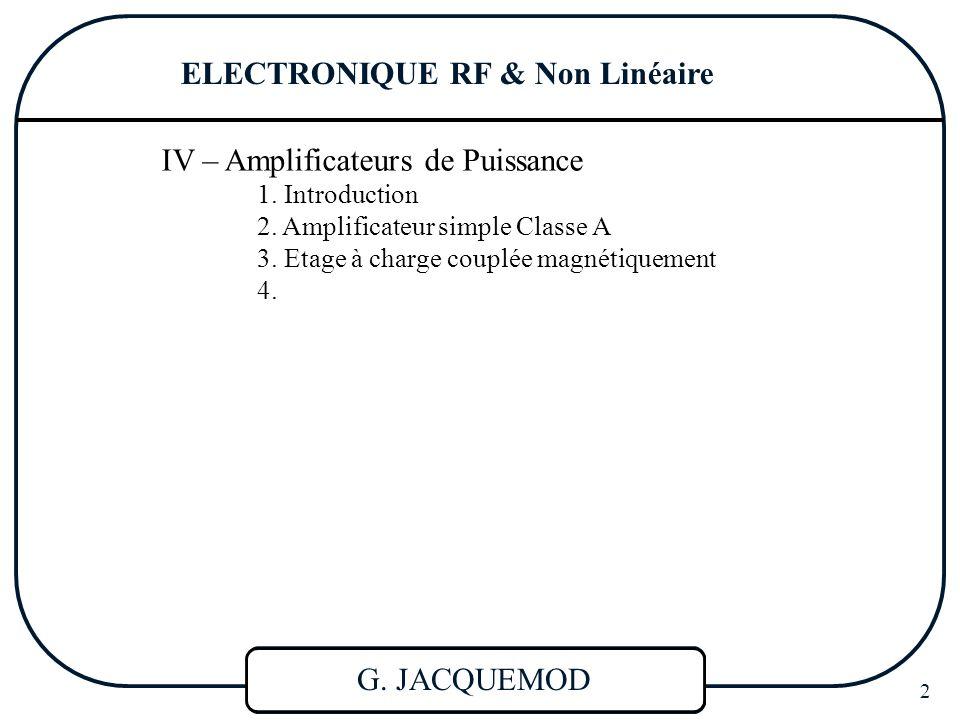 ELECTRONIQUE RF & NL 3 RAPPEL SUR LE TRANSISTOR BIPOLAIRE I - Polarisation 3 Régimes de fonctionnement : 1) Bloqué : les 2 jonctions polarisées en inverse : V BE 0 2) Actif : une jonction en direct : V BE >0 et V CB >0 (linéaire) 3) saturé : les 2 jonctions en direct : V BE >0 et V CB <0 ACTIF  Amplification : Fonctionnement classique  Signaux de faibles amplitudes : LINEARISATION = Signal faible devant la grandeur continue appliquée ou faible devant kT/q V BE V CE IBIB ICIC  Caractéristique d'entrée V BE V CE IBIB ICIC