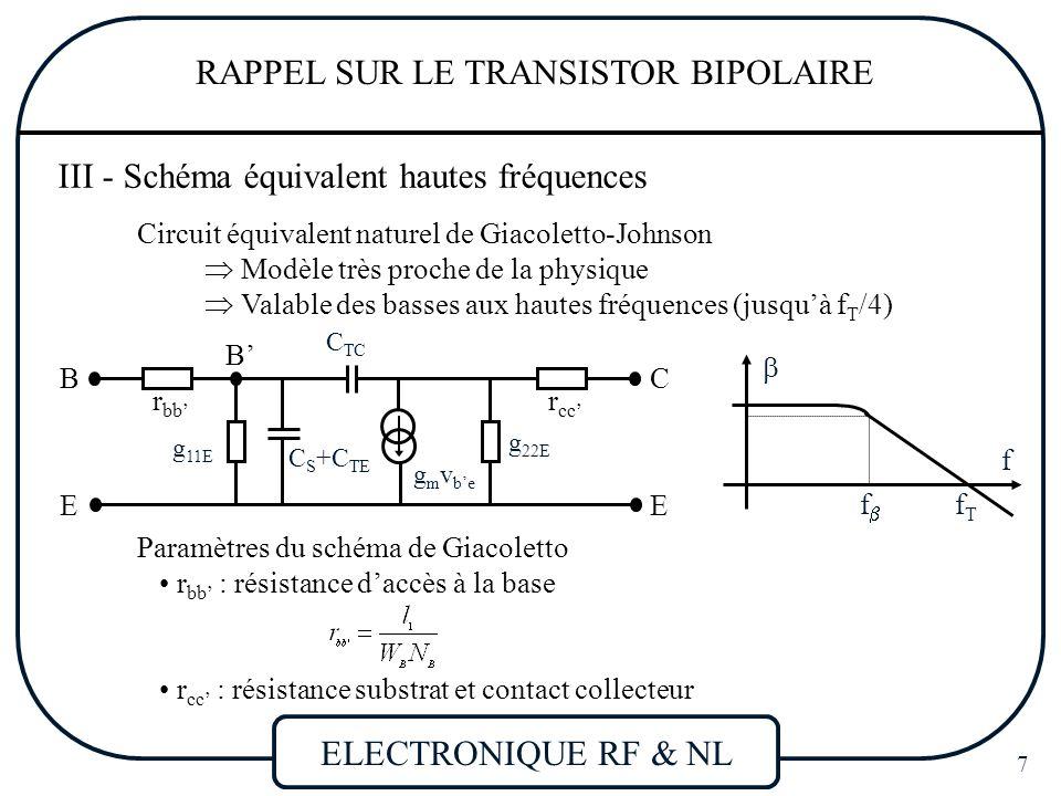 ELECTRONIQUE RF & NL 8 RAPPEL SUR LE TRANSISTOR BIPOLAIRE Paramètres du schéma de Giacoletto r cc' : résistance substrat et contact collecteur g 22E : conductance de sortie (  effet Early) g m : transconductance avec V B'E = V BE - r bb' I B g 11E : admittance de diffusion de la jonction B-E fraction de I E recombinée dans la base C S +C TE : C TE : capacité de transition de la jonction E-B C TE : capacité de diffusion de stockage