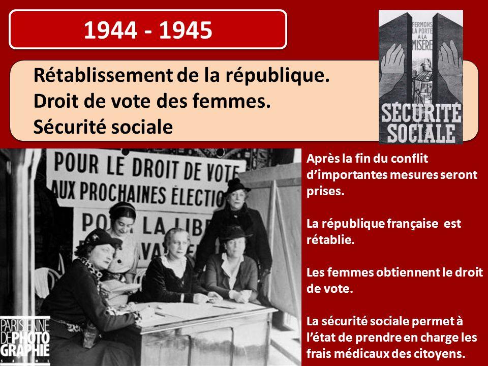1944 - 1945 Rétablissement de la république. Droit de vote des femmes. Sécurité sociale Rétablissement de la république. Droit de vote des femmes. Séc