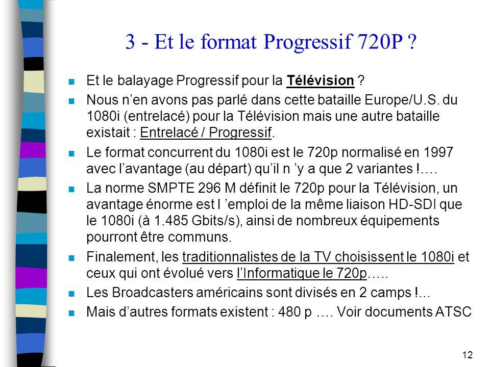 12 3 - Et le format Progressif 720P ? n Et le balayage Progressif pour la Télévision ? n Nous n'en avons pas parlé dans cette bataille Europe/U.S. du