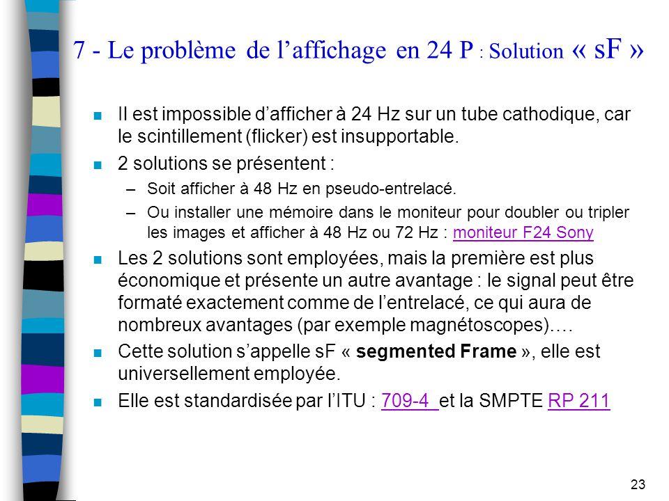 23 7 - Le problème de l'affichage en 24 P : Solution « sF » n Il est impossible d'afficher à 24 Hz sur un tube cathodique, car le scintillement (flick