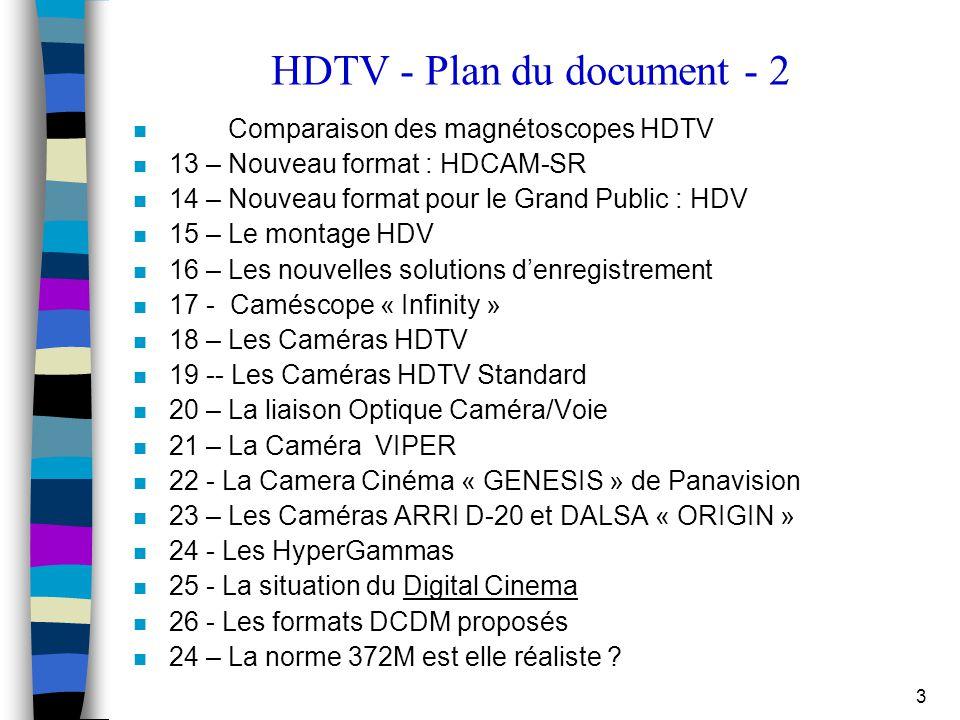 3 HDTV - Plan du document - 2 n Comparaison des magnétoscopes HDTV n 13 – Nouveau format : HDCAM-SR n 14 – Nouveau format pour le Grand Public : HDV n