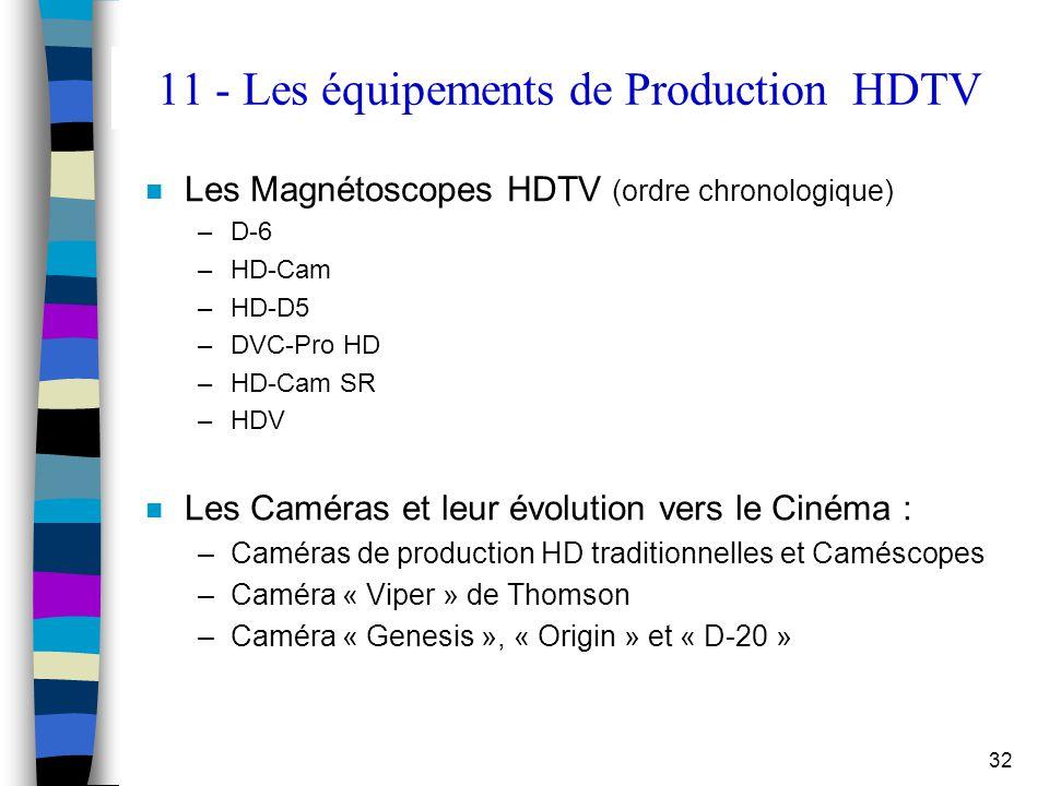 32 11 - Les équipements de Production HDTV n Les Magnétoscopes HDTV (ordre chronologique) –D-6 –HD-Cam –HD-D5 –DVC-Pro HD –HD-Cam SR –HDV n Les Caméra