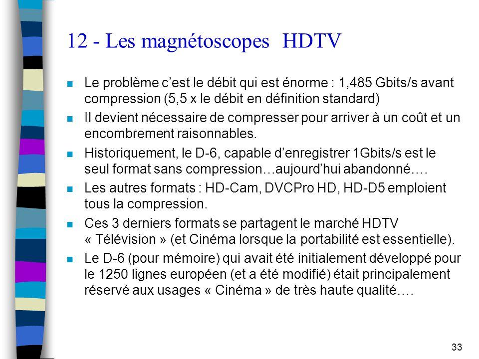 33 12 - Les magnétoscopes HDTV n Le problème c'est le débit qui est énorme : 1,485 Gbits/s avant compression (5,5 x le débit en définition standard) n