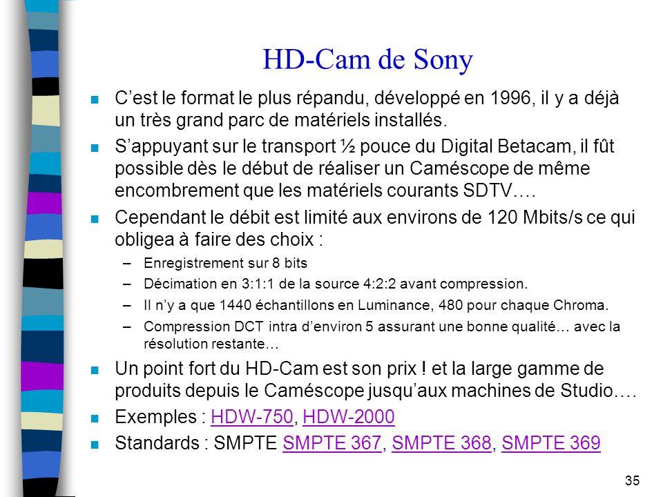 35 HD-Cam de Sony n C'est le format le plus répandu, développé en 1996, il y a déjà un très grand parc de matériels installés. n S'appuyant sur le tra