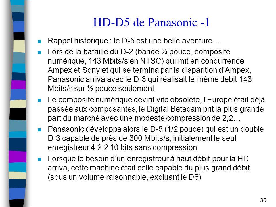 36 HD-D5 de Panasonic -1 n Rappel historique : le D-5 est une belle aventure… n Lors de la bataille du D-2 (bande ¾ pouce, composite numérique, 143 Mb