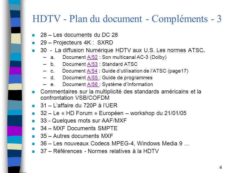 4 HDTV - Plan du document - Compléments - 3 n 28 – Les documents du DC 28 n 29 – Projecteurs 4K : SXRD n 30 - La diffusion Numérique HDTV aux U.S. Les